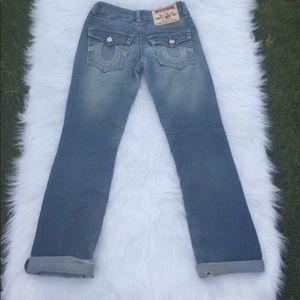 True Religion Joey Super T Silver Sequins Size 25